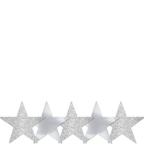 Mini Glitter Silver Star Cutouts 5ct Image #1