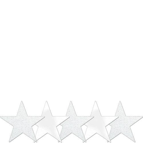Mini Glitter White Star Cutouts 5ct Image #1