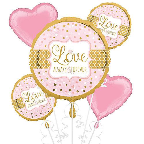 Sparkling Pink Wedding Balloon Bouquet 5pc Image #1