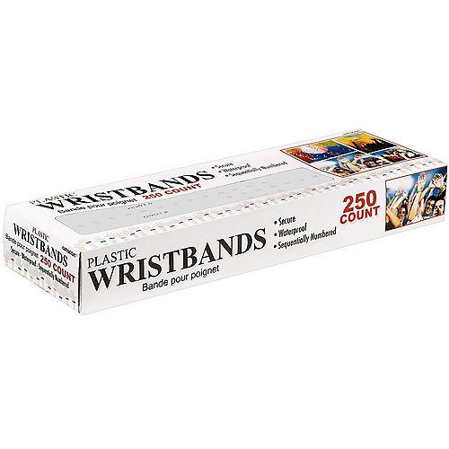 White Plastic Wristbands, 250ct Image #3