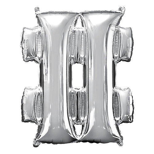 Giant Silver Hashtag Balloon 27in x 33in Image #1