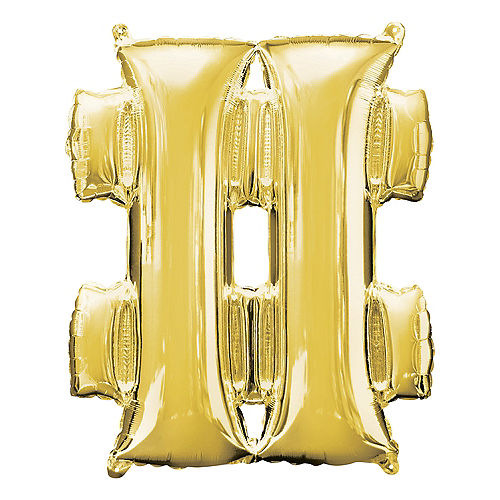 Giant Gold Hashtag Balloon 27in x 33in Image #1