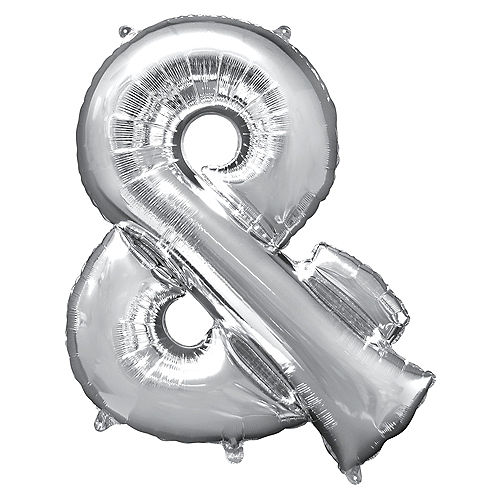Giant Silver Ampersand Balloon 30in x 38in Image #1
