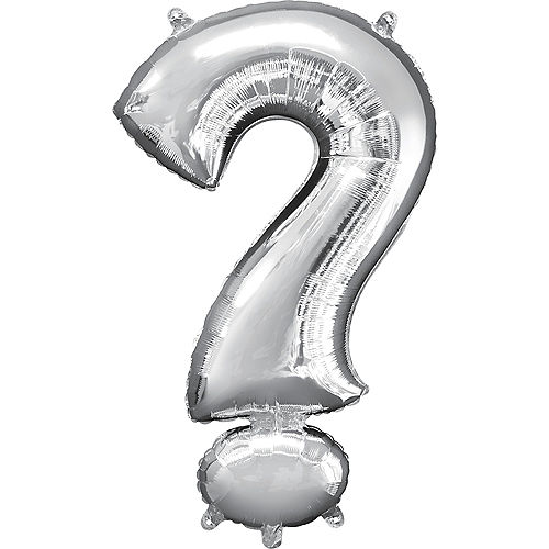 Giant Silver Question Mark Balloon 22in x 36in Image #1