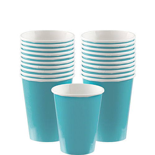 Caribbean Blue Paper Cups 20ct Image #1