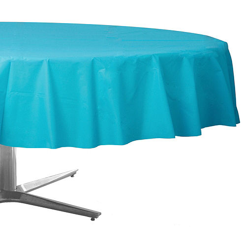 Caribbean Blue Plastic Round Table Cover Image #1