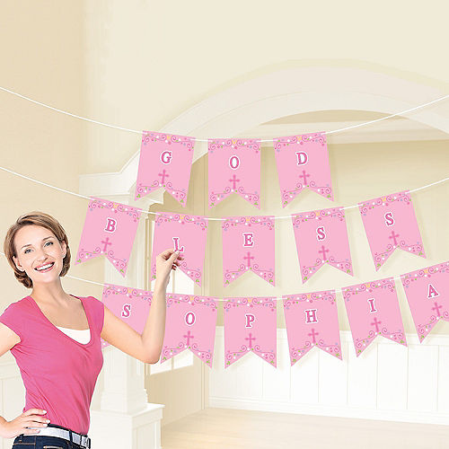 Pink First Communion Personalized Pennant Banner Kit Image #2
