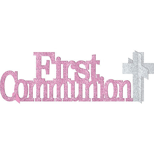 Glitter Pink First Communion Centerpiece Image #1