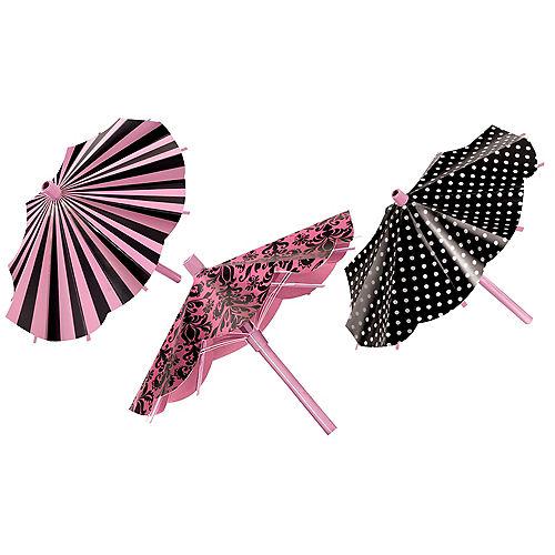 Pink & Black Parasol Decorations 3ct Image #1