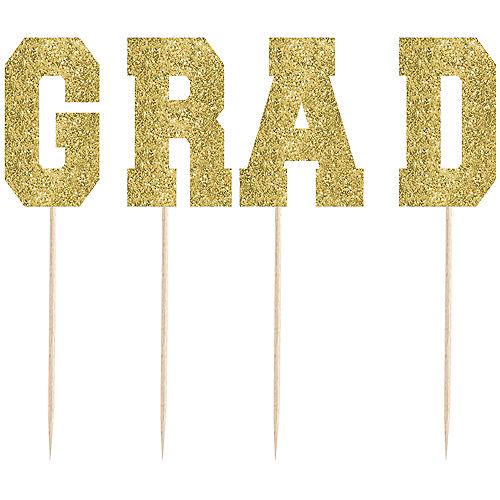Tall Glitter Gold Grad Party Picks 4ct Image #1