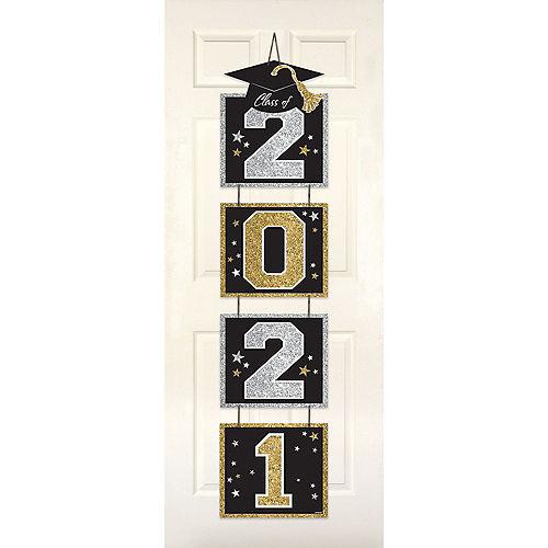 Glitter Black, Silver & Gold 2021 Cardboard Graduation Stacked Sign Image #1