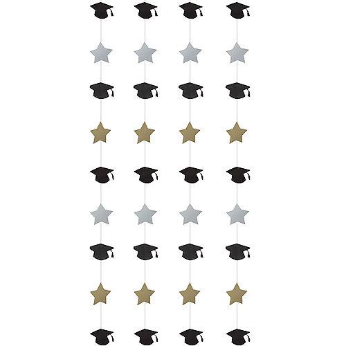 Black, Gold & Silver Graduation Buffet Decorating Kit 23pc Image #3