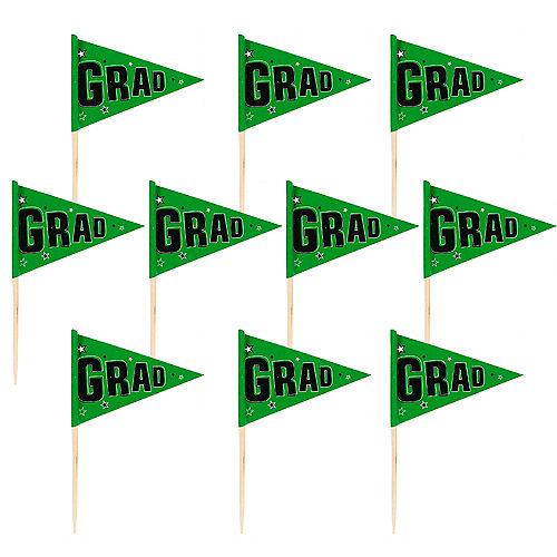 Green Graduation Flag Picks 36ct Image #1