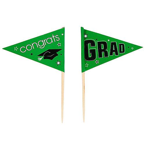 Green Graduation Flag Picks 36ct Image #2