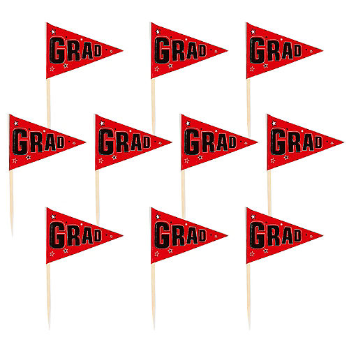 Red Graduation Flag Picks 36ct Image #1