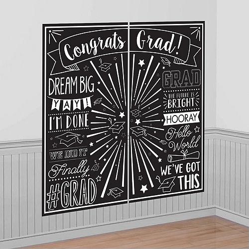 Black & White Graduation Scene Setter 2pc Image #1