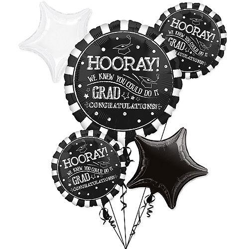 Giant Chalk Hooray Graduation Balloon Bouquet with Balloon Weight 6pc Image #1