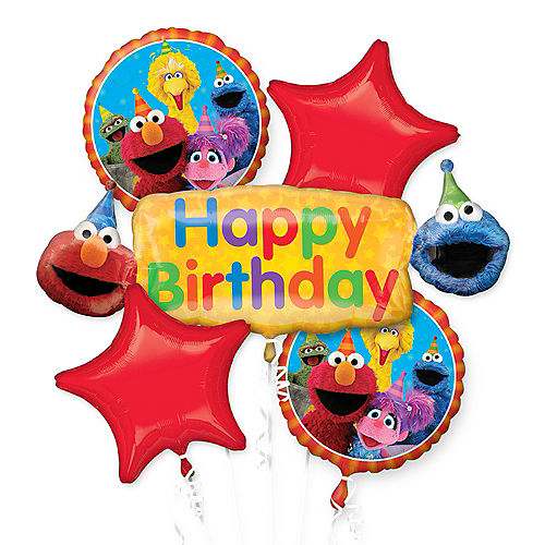 Sesame Street Birthday Balloon Bouquet 5pc Image #1