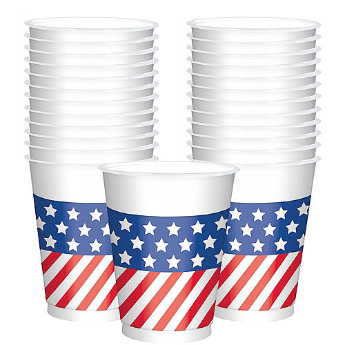 Patriotic American Flag Cups 25ct Image #1