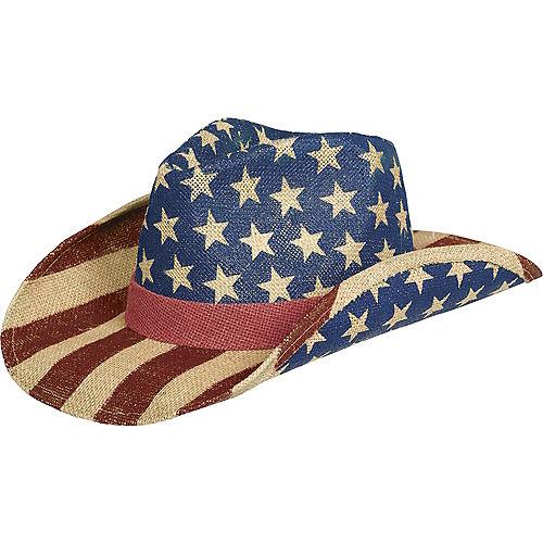 Burlap Patriotic American Flag Cowboy Hat Image #1
