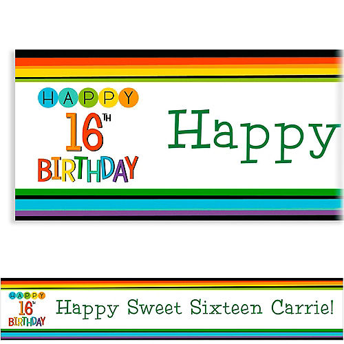 Custom Rainbow 16th Birthday Banner Image #1