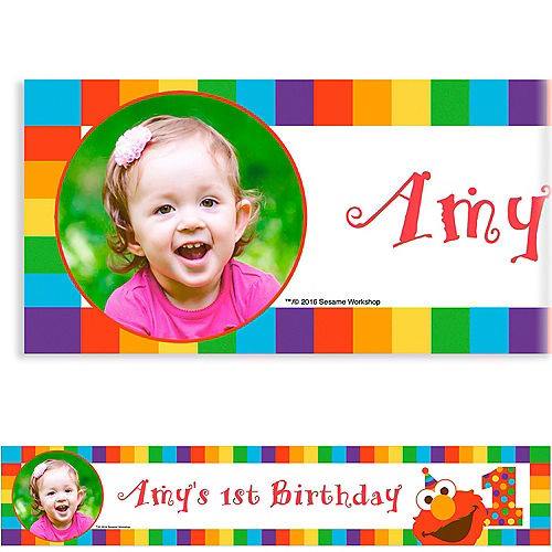 Custom Elmo 1st Birthday Photo Banner Image #1