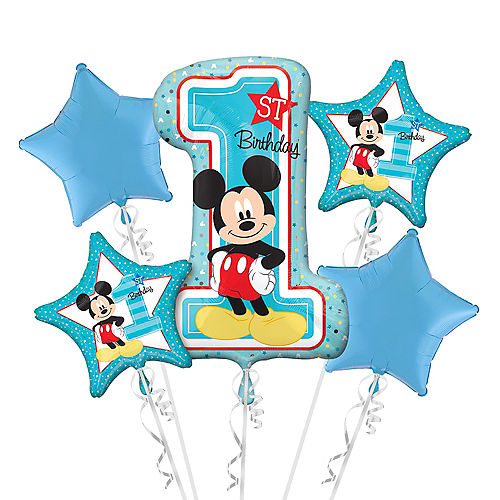 1st Birthday Mickey Mouse Balloon Bouquet 5pc Image #1