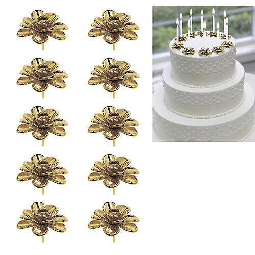 Gold Flower Candle Holder Cake Toppers 10ct Image #1