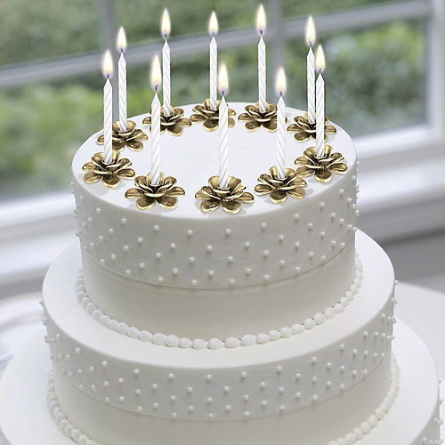 Gold Flower Candle Holder Cake Toppers 10ct Image #3