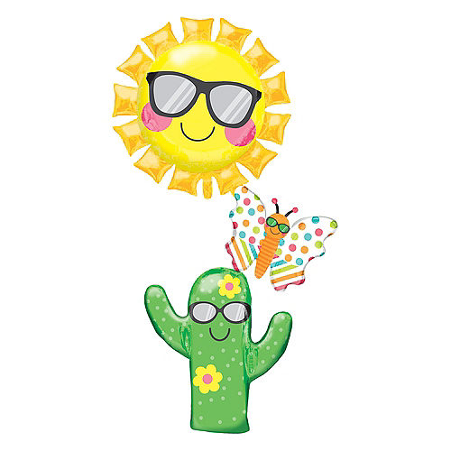 Giant Stacked Fun in the Sun Cactus Balloon Image #1