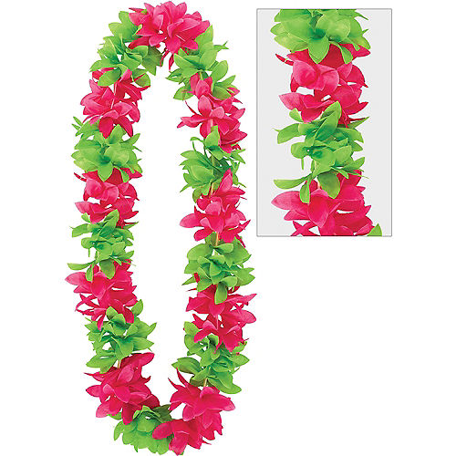 Green & Pink Flower Lei Image #1