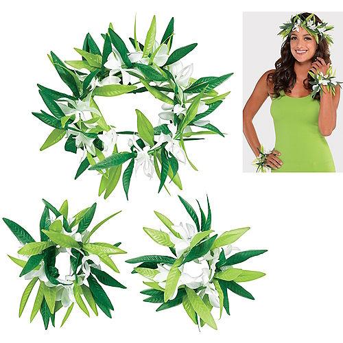 Flower & Leaf Maile Lei Accessory Set 3pc Image #1