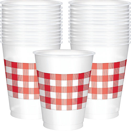 Red Gingham Plastic Cups 25ct Image #1