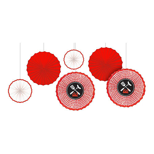 Picnic Party Red Gingham Paper Fan Decorations 6ct Image #1
