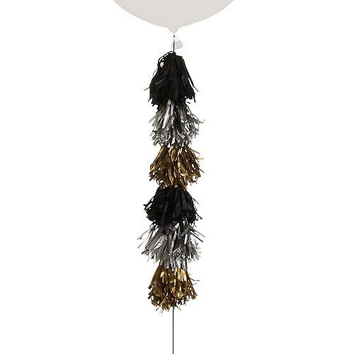 Black, Silver & Gold Tassel Balloon Weight Tail Image #1