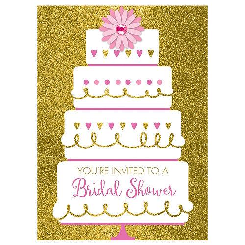 Gold Glitter Wedding Cake Bridal Shower Invitations 8ct Image #1