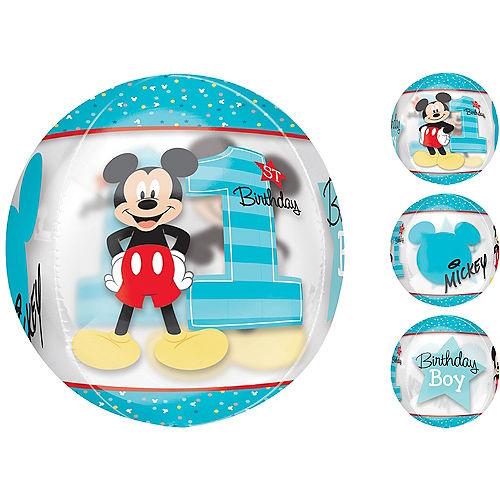 1st Birthday Mickey Mouse Balloon - See Thru Orbz Image #1
