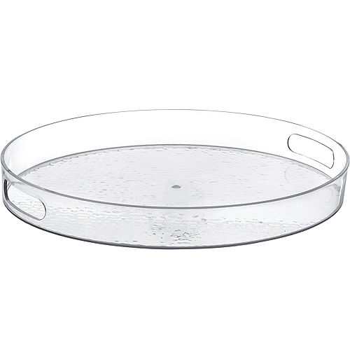 CLEAR Premium Plastic Hammered Serving Tray Image #1