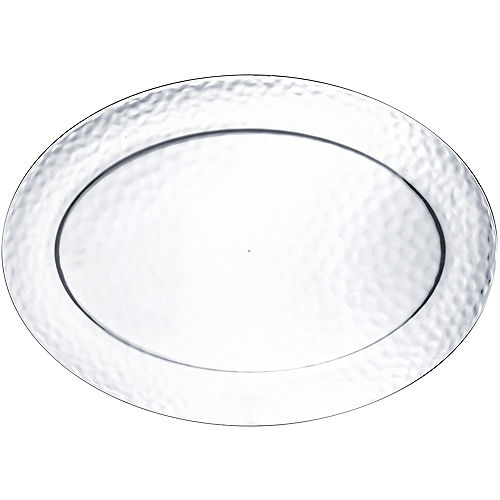 Large CLEAR Premium Plastic Hammered Oval Platter Image #1