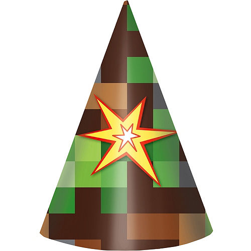 Pixelated Party Hats 8ct Image #1
