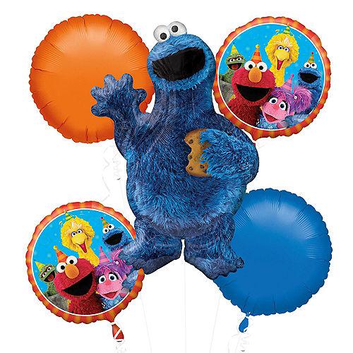 Cookie Monster Balloon Bouquet 5pc - Sesame Street Image #1
