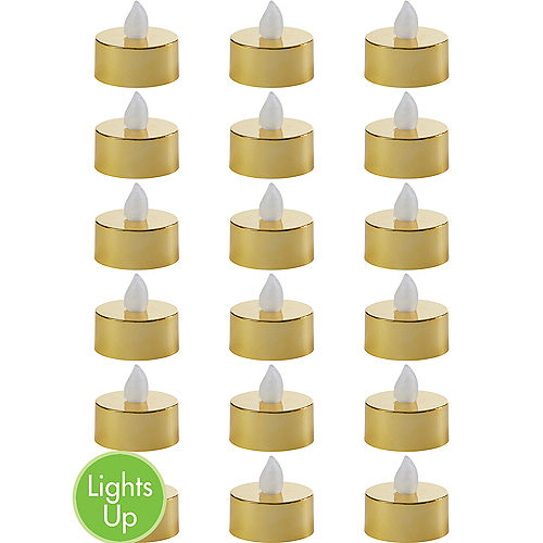 Metallic Gold Tealight Flameless LED Candles 18ct Image #1