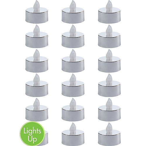 Metallic Silver Tealight Flameless LED Candles 18ct Image #1