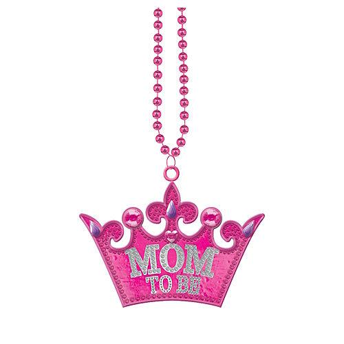 Mom-to-Be Tiara Pendant Bead Necklace Image #1