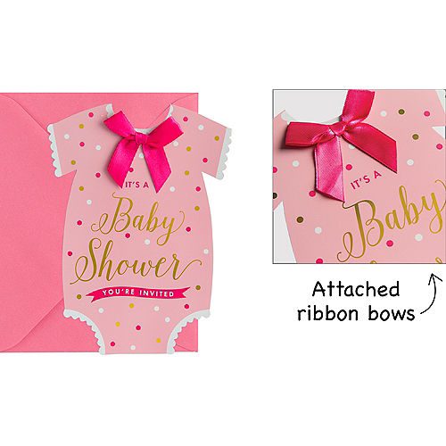 Premium Pink Snapsuit Baby Shower Invitations 8ct Image #1