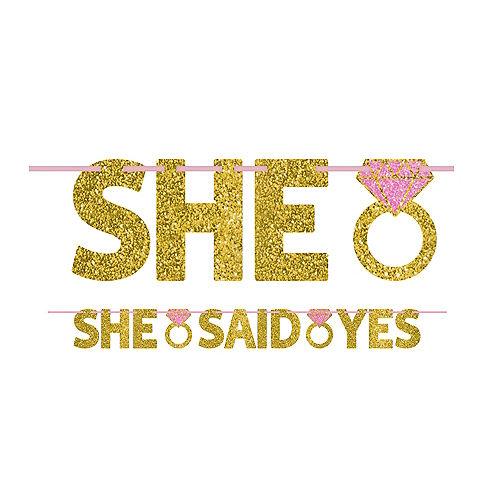 Glitter Gold She Said Yes Letter Banner Image #1