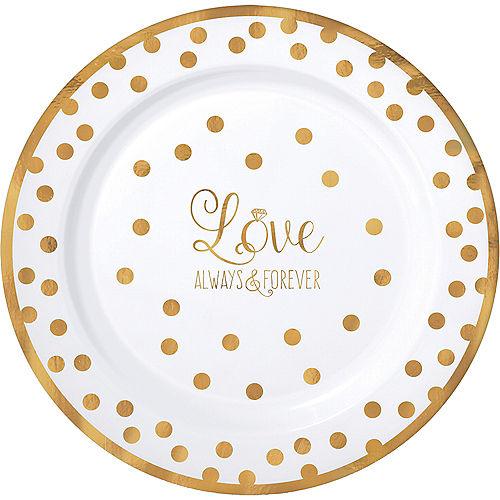 Sparkling Gold Wedding Premium Plastic Dinner Plates 10ct Image #1