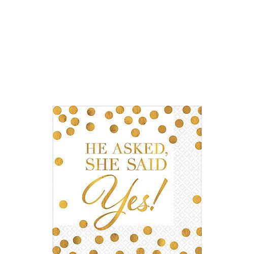 Gold She Said Yes Wedding Beverage Napkins 16ct Image #1