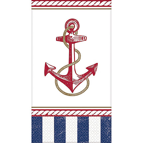 Striped Nautical Guest Towels 16ct Image #1