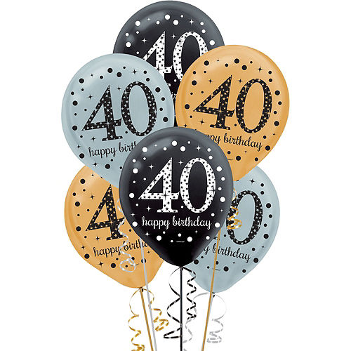40th Birthday Balloons 15ct - Sparkling Celebration Image #1